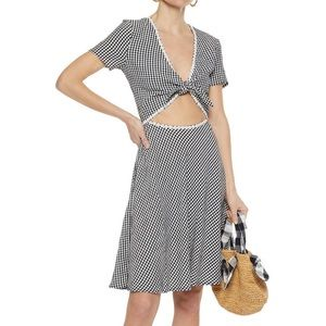 Solid and Striped Knotted cutout seersucker dress